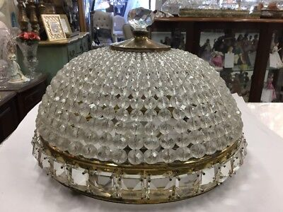 VINTAGE CHANDELIER CEILING MOUNT FRENCH BEADED FLUSH DOME CRYSTAL LIGHT No.110