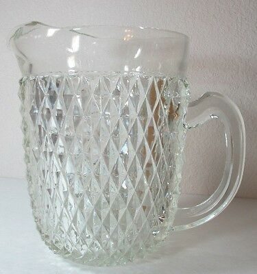 Vintage heavy antique clear Indiana glass diamond point glass pitcher rare & htf