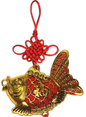 """4"""" Chinese Lucky Red Fish Charm Hanging Ornament,  Feng Shui Home Decor Accent"""