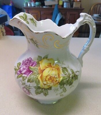Buffalo Pottery Cairo Water Basin Pitcher Pink and Yellow Roses