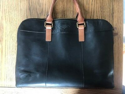 Fossil Mens Work Bag Black Leather Very Good Condition 44 99