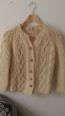 Wolle 100% Cardigan Strickjacke Aran Grobstrick warm irisch Vintage