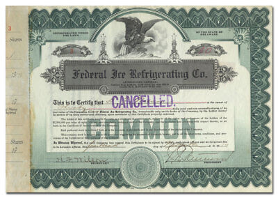 Federal Ice Refrigerating Co. Stock Certificate (Riverdale, IL)