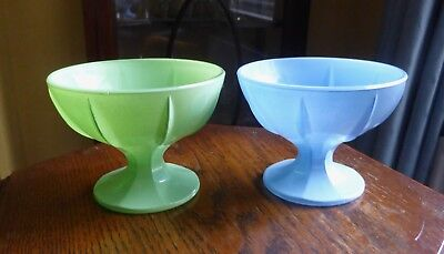 Set of Two Retro Vintage Cased Glass Ice Cream Sundae Dishes. Made in France.