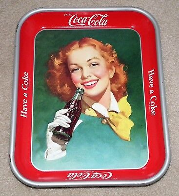 Vintage 1948 to 1950's Coca-Cola serving tray red hair girl with yellow scarf