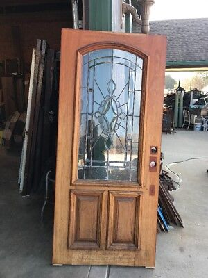 An 465 Antique Beveled And Textured Glass Entrance Door 35.75 By 79.75