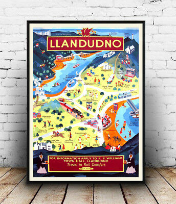 Llandudno : Vintage travel Advertising , poster, Wall art, poster, reproduction.