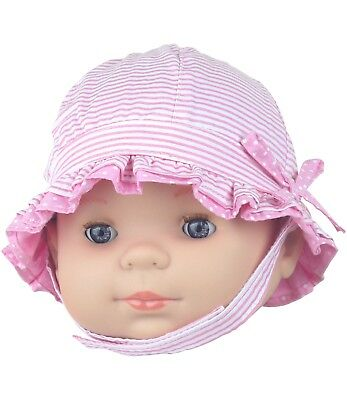 BabyPrem Baby Girls Sun Hat Pink Summer Hat with Chin Strap Age 000 & 00