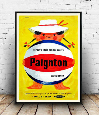 Paignton : Vintage Travel advertising, poster, Wall art, poster, reproduction.