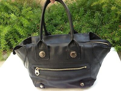SALE ORYANY Black Full Leather Gold Studs Zipper Shoulder Satchel Hand Bag  Large fb7333f2e3