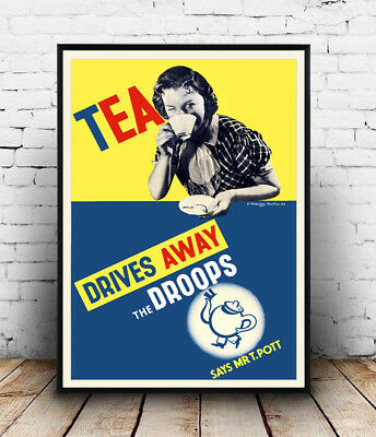 Tea : Vintage advertising , poster, Wall art, poster, reproduction.
