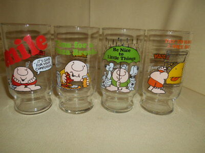 Rare Vintage ZIGGY Complete Set of 4 Pizza Inn Coca Cola Promotional Glasses