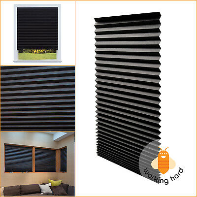PAPER PLEATED SHADE 36'' x 72'' Window Blind Blackout Light Block Cordless Black