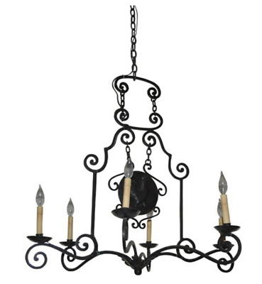Antique French Wrought Iron 6-Light Chandilier