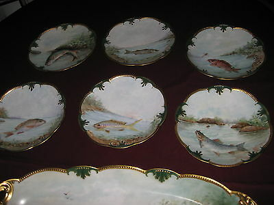 ANTIQUE  Limoges FISH  set dinnerware signed   LATE 1800 TO1910 RARE TEN PIECES