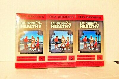 Ted Broer's Eat Drink & Be Healthy Volumes 1,2 & 3 VHS Tapes New Factory Sealed
