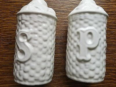 White, Glass, Salt And Pepper Shakers