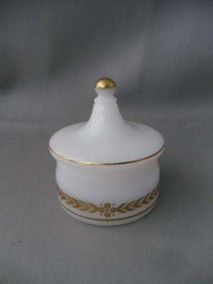 Antique Vtg Swedish White & Gold Opaline Art Glass Apothecary Box Jar
