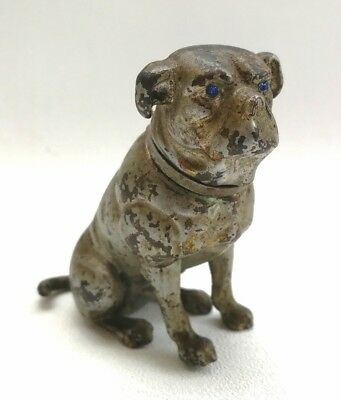 Vtg Cold Painted Bronze Bulldog Dog Figurine Car Mascot Emblem Blue Jewelled Eye