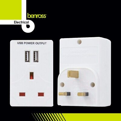 1 Way UK Mains Power Socket With 2 USB Charging Ports Connection Wall Plate Plug