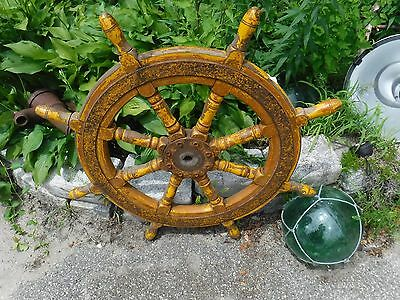 ANTIQUE AUTHENTIC Solid Wood & Iron Ship's Helm Steering Wheel 8 Spoke HUGE 37""