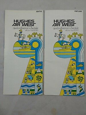 ha 2 Vintage 19671 Hughes Air West Airlines Route Timetable Portland Seattle 15