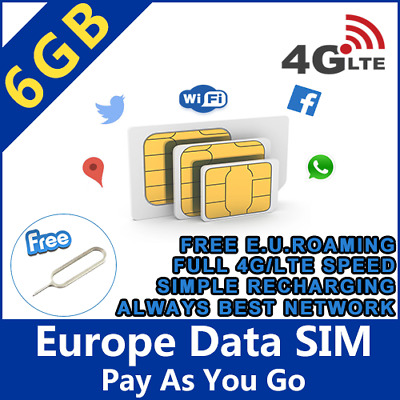 sim card europe 6gb for all E.U. roaming free data sim europa spain italia UE
