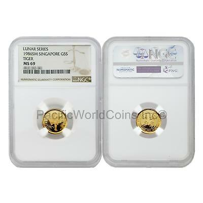 Singapore 1986 Year of the Tiger 5 Singold 1/20 oz Gold NGC MS69 SKU#5682
