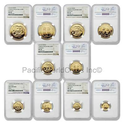 Singapore 1988 Year of the Dragon 5pc Gold NGC Set SKU#5673