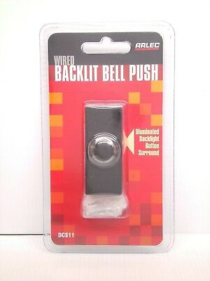 ARLEC Wired Backlit Black Door Chime Bell Push Replacement Switch DCS11