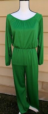 Vintage Anthony Richards jumper romper one piece green medium large retro Disco