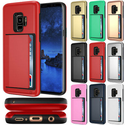 Back Cover with Credit Card Holder Case For Samsung Galaxy Note 8 9 S8 S9+ Plus