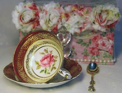 SALE! Paragon China, Wide Mouth, Garnet Red Teacup Setting in Gift Box w/More
