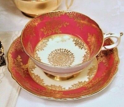 OPULENT GIFT Box-1930s Paragon Red & Gold Filigree Teacup & Saucer