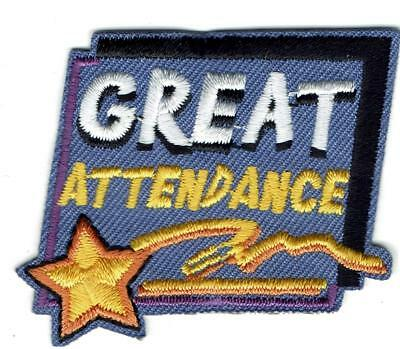 GIRL BOY CUB GREAT ATTENDANCE Fun Patches Crests Badges SCOUTS GUIDE Iron On