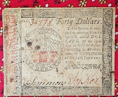 CONTINENTAL CURRENCY JANUARY 14, 1779 $40 Spanish milled dollar high value note