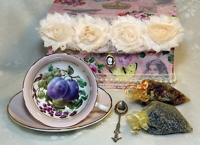 1950's Pink with Fruit Still Life China Teacup in Fabric Keepsake Box w/ More!!