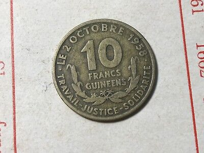 1959 Guinea 10 Francs world foreign coin great condition Rare nation high value