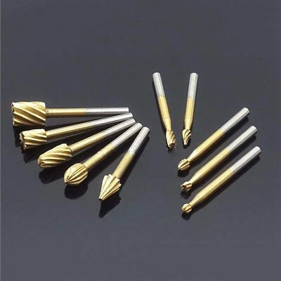 10pcs HSS Titanium Routing Rotary Milling Rotary File Cutter Wood Carving T Q1C6