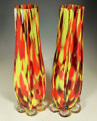 "2 CZECH SIGNED Vases 1920s-30s SPATTER GLASS 10"" Franz  WELZ ? FOOTED Excellent"