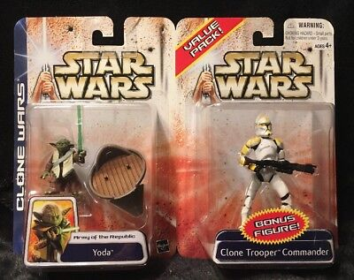STAR WARS Clone Wars Value Pack Yoda And Clone Trooper Commander Action Figures