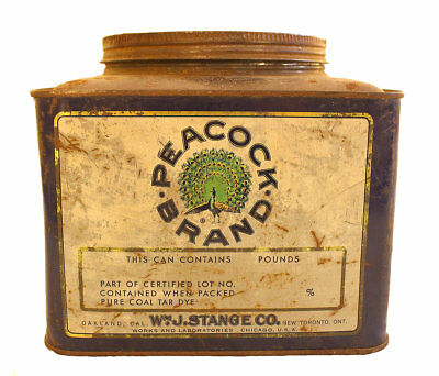 CIRCA 1920s PEACOCK BRAND FOOD COLORS TIN LITHO ADVERTISING CANISTER