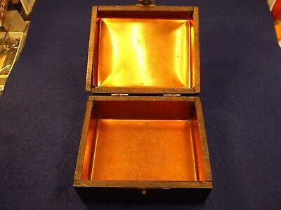 """Very Old Vtg Antique Wood & """"copper"""" (Tin) Cigar Humidor, Dove Tailed, Victorian"""