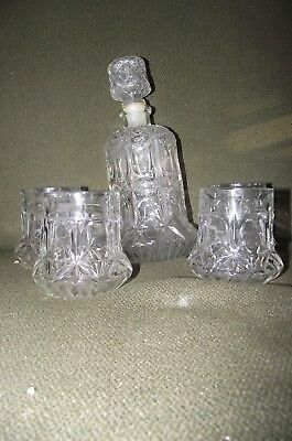 Thick fat bottom daisy depression glass pattern vintage decanter glasses
