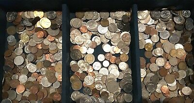Mixed World Coin Weight 225 Grams.From Hoard. Bulk. Not Checked For Variety.