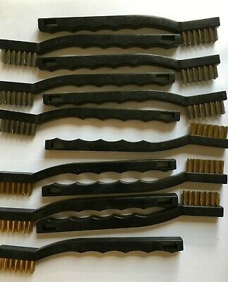 """12 Pc USA Made 8""""Mini Wire Brush Set- 6 Pc Stainless Steel-6 Pc Brass"""