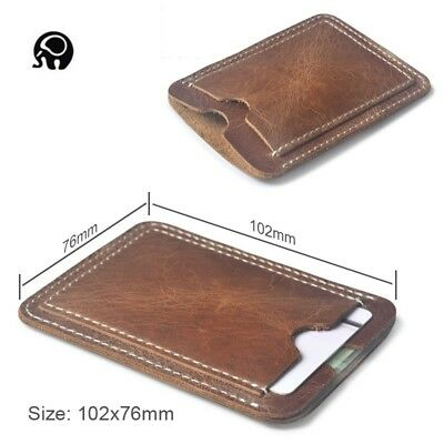 Vintage Men Women Genuine Leather Mini Slim ID/Credit Card Holder Purse Wallet
