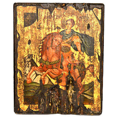 Orthodox Icon Handpainted Greek Byzantine Antique Style of Saint Dimitrios