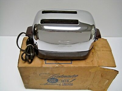 General Electric GE Chrome Bakelite 2 Slice Toaster 129T81 Vintage 1950s w/ Box