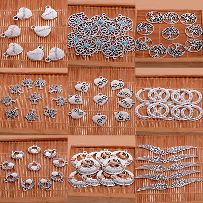 10PCs Crafts Antique Silver Charms Pendants Jewelry Findings Lots Paw Wing Heart